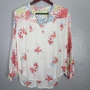 Kucky Brand V-Neck Floral Print Blouse Size Med